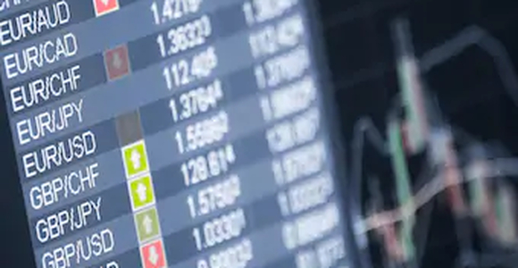 Trading platform showing forex pairs