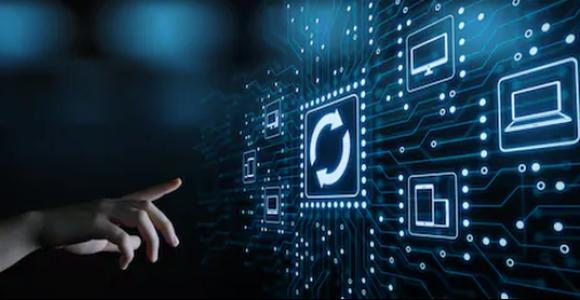 Human hand pushing futuristic system update button