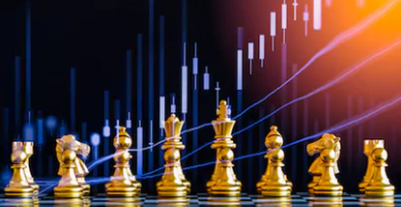 Chess game on chess board behind forex chart indicators