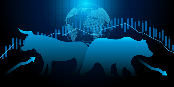 Bull and Bear technical analysis concept